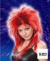 1 x New Womens Rock Star Spiky Tina Wig -Red Black